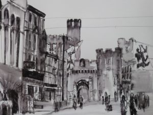 St Mary's Street, Cardiff by Francine Davies. On display at the Radisson Blu, Cardiff