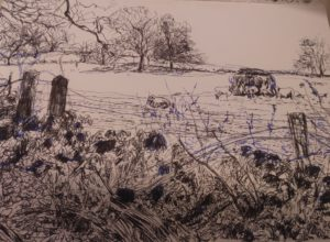 Sketches of The Walk from Abercraf to Henryhd Waterfalls by Francine Davies Art