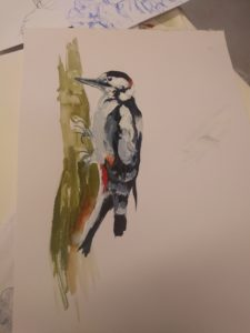 The Great Spotted Woodpecker by Francine Davies Art