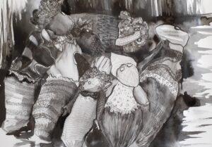 Ogs oversleeping. No dawn chorus today. artwork by francinedavies.art. World of Ogs