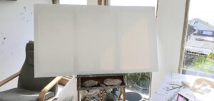 Creating Artist canvas'.  Linen canvas, wood frame, tacks and hammer