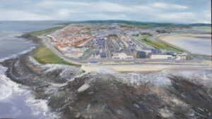 A Birds Eye View of Porthcawl Town and coastline